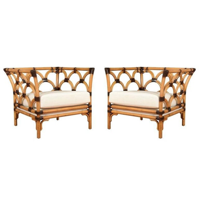 Amazing Pair of Scalloped Rattan Club Chairs by Peter Rocchia for Wicker Works For Sale - Image 11 of 11