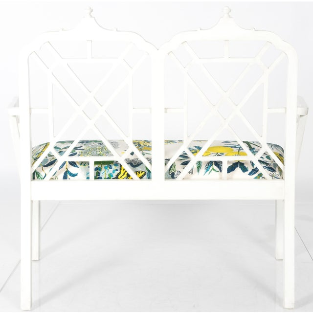 White Chinoiserie Pagoda Motif Newly Upholstered Settee For Sale - Image 9 of 11