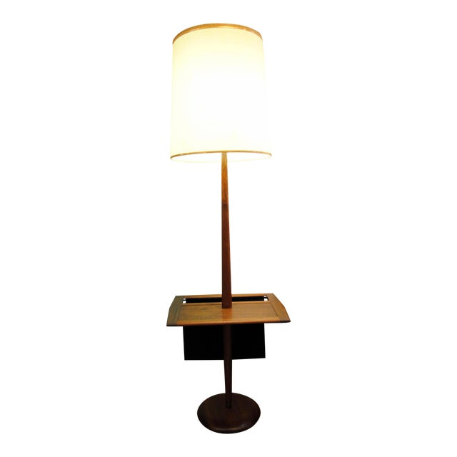 Laurel Mid-Century Floor Lamp With Table & Magazine Holder For Sale