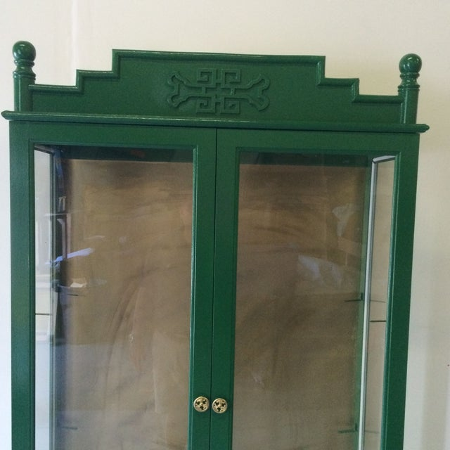 Hollywood Regency Vintage Green/Gold Bamboo Hutch For Sale - Image 3 of 8