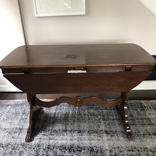 1940s 1940s Art Deco Drop Leaf Accent Table For Sale - Image 5 of 12