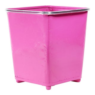 Machine Age Steel Trash Can With Aluminum Trim, Refinished in Pink For Sale