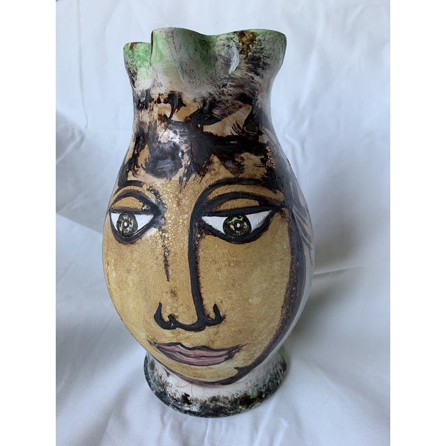 Italian Vintage Italian Pottery Hand Painted Face Pitcher Vase For Sale - Image 3 of 13