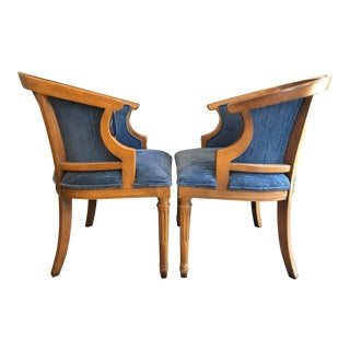 Mid-Century Blue Upholstered Wood Barrel Chairs - a Pair For Sale