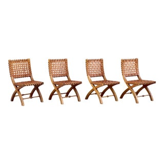 1980's Safari Style Woven Leather Chairs With Curule Base - Set of 4 For Sale