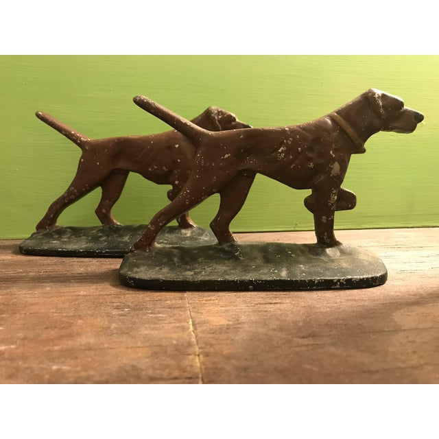 Painted Cast Metal Pointer Dog Bookends - Image 2 of 6