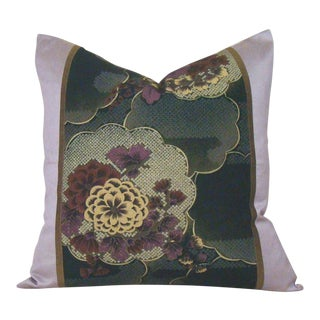Japanese Silk Floral Chuya Obi Pillow Cover