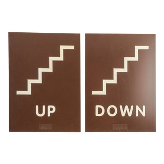 Mid Century Modern Up & Down Signs - a Pair