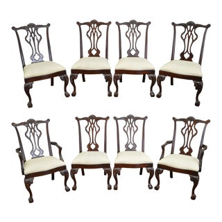 Thomasville Solid Mahogany Chippendale Style Ball & Claw Dining Chairs - Set of 8