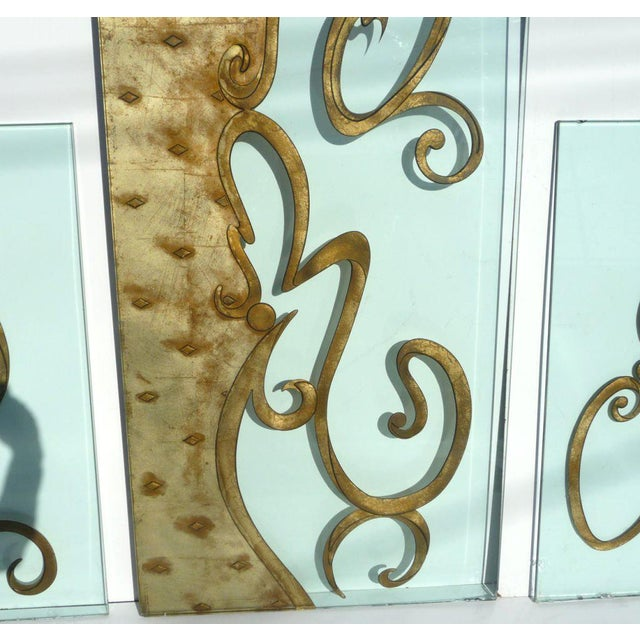 Phenomenal Architectural Etched and Gilded Glass Panels For Sale - Image 4 of 11