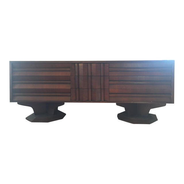 Mid-Century Modern Architectural Wooden Dresser, Credenza, or Buffet For Sale