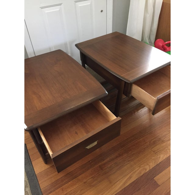 Mid-Century Modern Slat Base Side Tables - Pair - Image 5 of 7