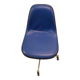 Blue Eames Herman Miller Swivel Side Chair For Sale