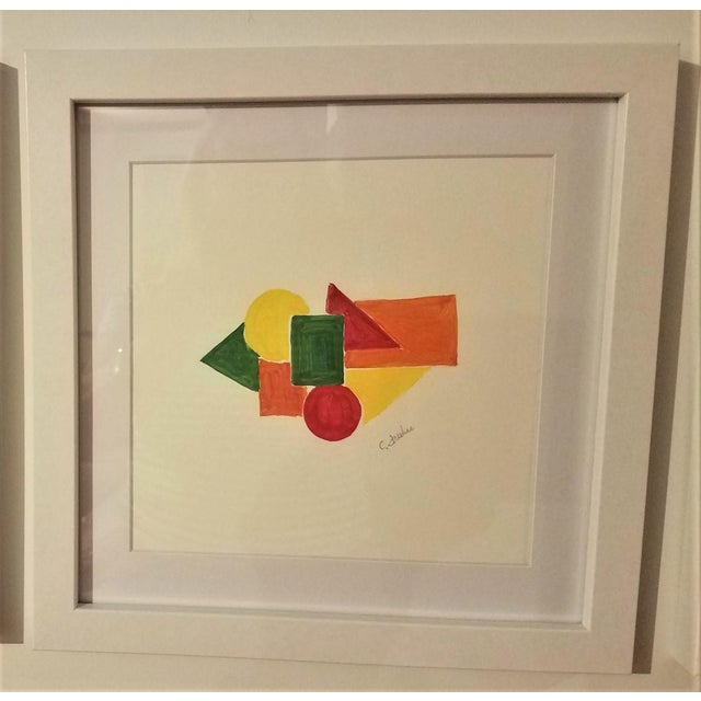 Contemporary Geometric Hand Painted Framed Acrylics by Christine Frisbee - Set of 6 For Sale - Image 3 of 9