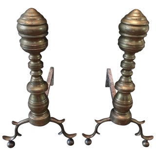 Pair of Antique Brass Chippendale Style Andirons For Sale