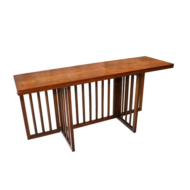 MidCentury Modern Folding Console Dining Table Chairish - Mid century modern folding dining table