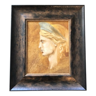 Vintage Original Classical Liberty Portrait Painting For Sale