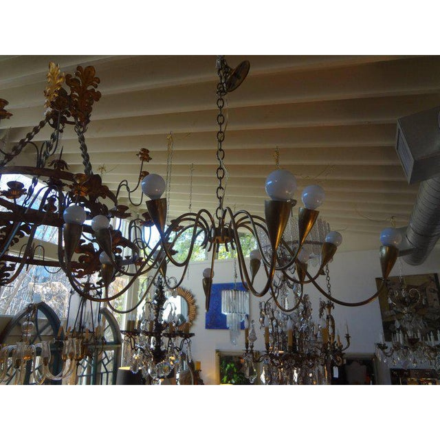 1960s Italian Mid Century Modern Brass Chandelier, Stilnovo Style For Sale - Image 5 of 7