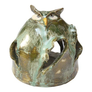 Vintage Austrian Studio Pottery Owl by Rattenberger Töpferladen For Sale