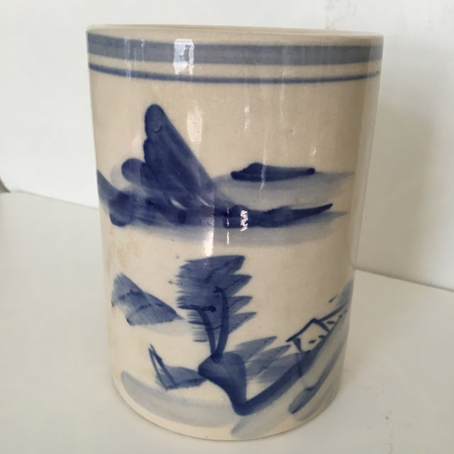 20th Century Chinese Blue and White Landscape Design Brush Pot For Sale - Image 9 of 10