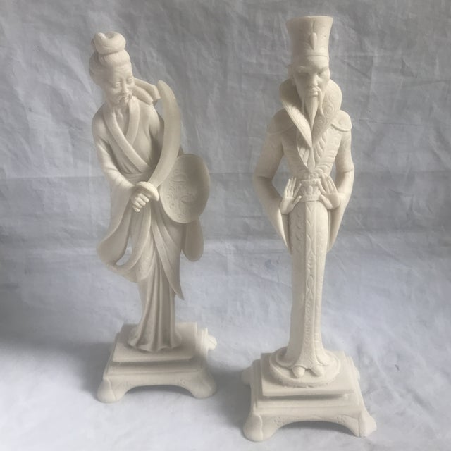 Mid-Century Asian/Chinoiserie Style Figurines - a Pair For Sale - Image 4 of 4