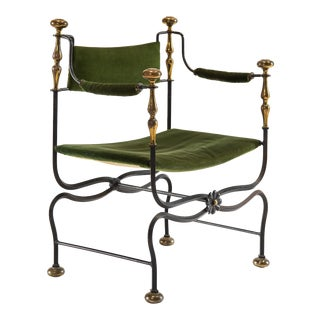 Early 20th Century Italian Green Velvet Curule Savonarola Chair