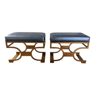 Redford House Domingo Bench in Antique Gold - a Pair For Sale