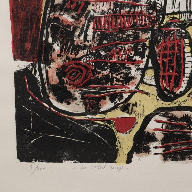 """""""Le Soleil Rouge"""" Lithograph Printed in Colors, 1963 For Sale In New York - Image 6 of 9"""
