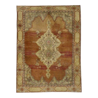 Vintage Mid-Century Turkish Oushak Accent Rug - 4′1″ × 5′5″ For Sale