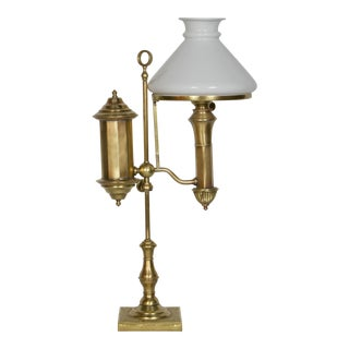 Brass Oil Lamp With Original Glass Shade For Sale