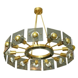 Mid Century Italian Brass & Glass Chandelier, by Gino Paroldo, Fontana Arte 1970s For Sale