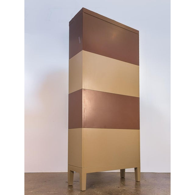 Tan Two-Tone Tall Metal Barrister Bookcases - 2 pieces For Sale - Image 8 of 9