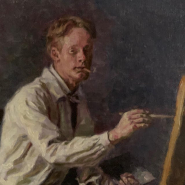 C1905 Artist Self Portrait Painting, Illegibly Signed For Sale In New York - Image 6 of 9