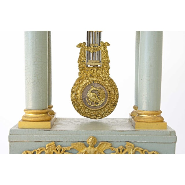 Mid 19th Century French Empire Portico Gridiron Mantle Clock For Sale - Image 6 of 8