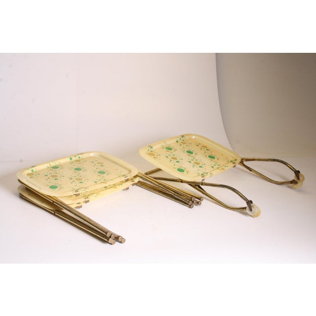 Mid Century Modern Yellow & Green TV Tray Tables - Set of 4 - Image 11 of 11
