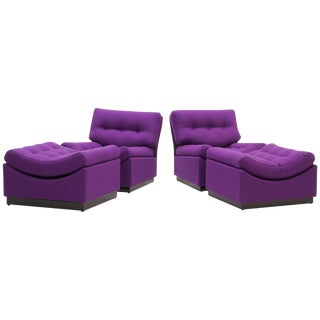 Pair of Low Floor Chaise Lounges, Made in Denmark For Sale