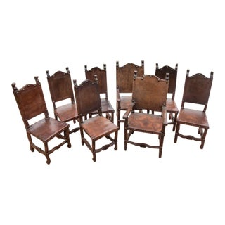 Spanish Style Hardwood Dining Chairs With Leather Seats - Set of 8 For Sale