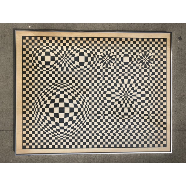 1970s Midcentury Victor Vasarely Op Art Bauhaus Custom Framed Lithograph For Sale - Image 9 of 9