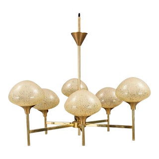 Brass & Glass Chandelier, 1970s For Sale