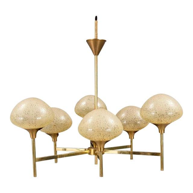 Brass & Glass Chandelier, 1970s For Sale