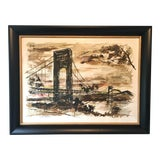 "Image of 1960s Mid-Century Modern John Haymson Framed Print ""George Washington Bridge in the Evening"" For Sale"