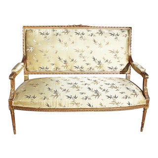 1890s Vintage Louis XVI Style Antique Gilt Sofa For Sale