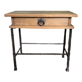 Art Deco French Wrought Iron and Oak Side Table For Sale