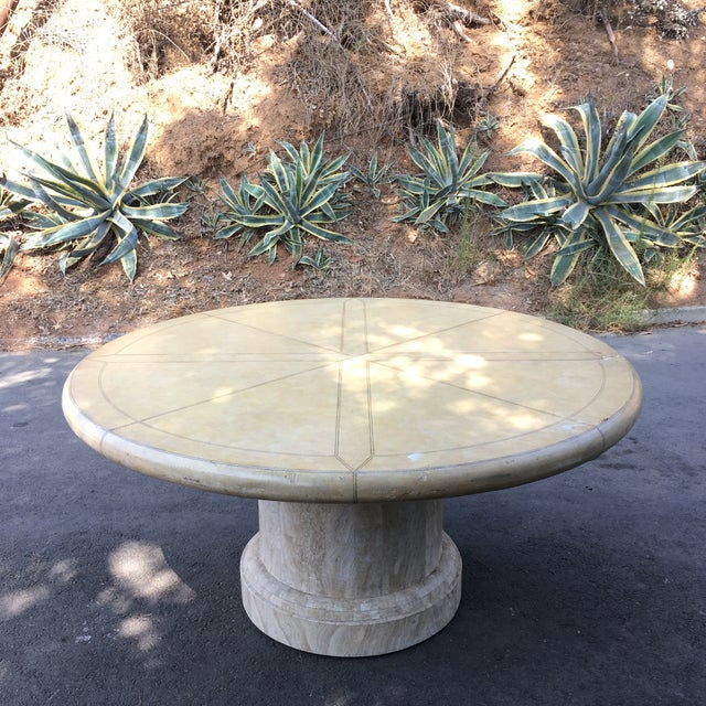 Maitland-Smith Round Leather Top Dining Table For Sale - Image 11 of 11