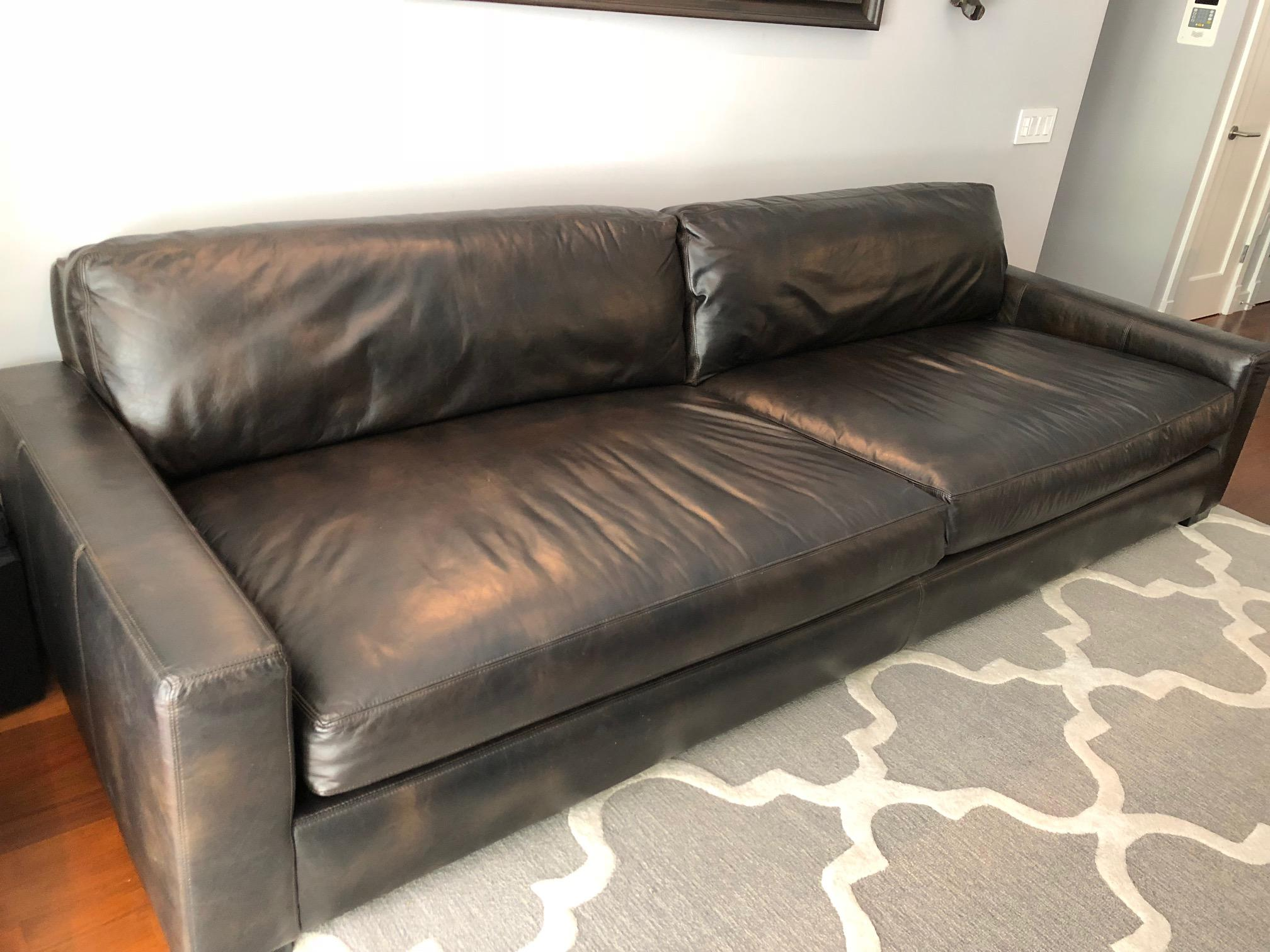 Charmant Contemporary Restoration Hardware Maxwell Leather Sofa For Sale   Image 3  Of 4