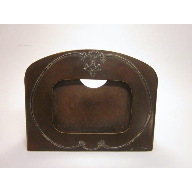 1910s Antique Arts and Crafts Era Heintz Art Metal Sterling Decorated Bronze Art Nouveau Floral Motif Desk Set - Set of 7 For Sale In Chicago - Image 6 of 11
