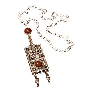 1970s Vintage Egyptian Revival Silver Medallion Pendant For Sale