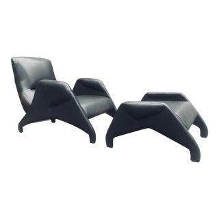 Vincenzo DI Cotiis for Progetto Domestico Dark Grey Leather Armchair and Ottoman For Sale