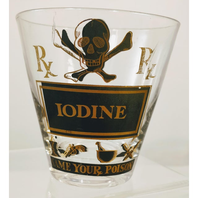 Georges Briard Georges Briard Pick Your Poison Iodine Glass Tumbler Cocktail For Sale - Image 4 of 6