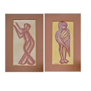 1950s Vintage Robert Helman Abstract Modern Figurative Drawings - a Pair For Sale